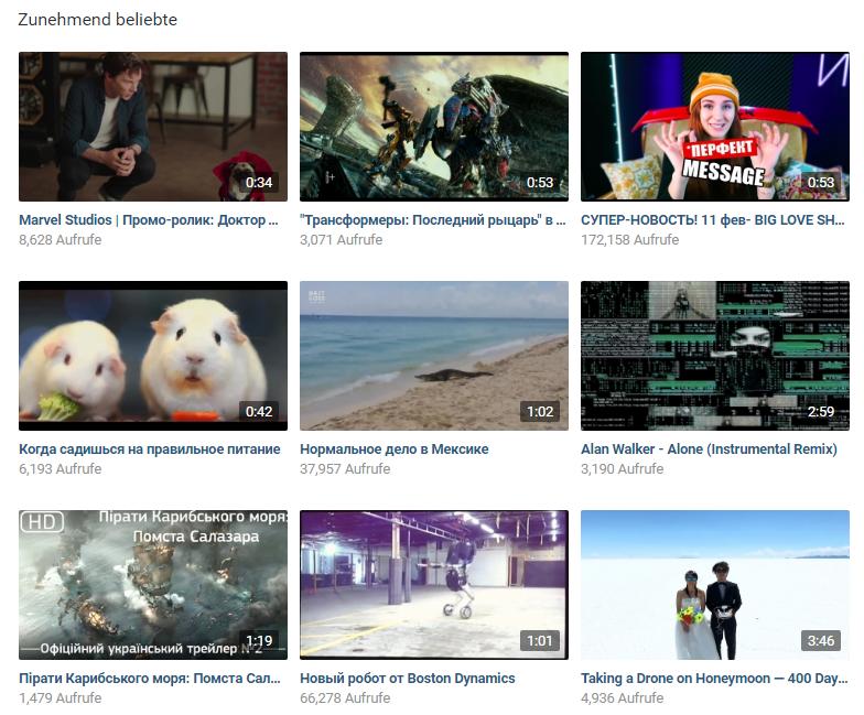 Video-Content in VKontakte